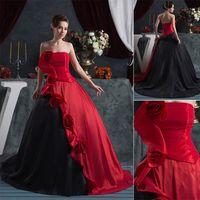 Model Pictures red and black wedding dresses - 2014 Black and Red Bridal Gown Wedding Dresses With A Line Ruffles Court Train Handmade Flower Sku WDH
