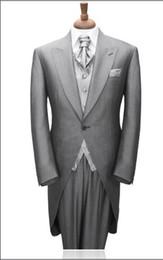 New Morning Style Groom Tuxedos One Button Light Grey Peak Lapel Best man Groomsman Men Wedding Suits Bridegroom (Jacket+Pants+Tie+Vest)J153