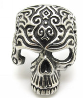 gothic jewelry - Hot Fashion Men s Gothic Biker Carving Evil Skull Silver L Stainless Steel Finger Ring Jewelry Gift