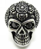 Wholesale Gothic Punk Men s Rhinestone Eyes Skull L Stainless Steel Finger Ring New Christmas Gift