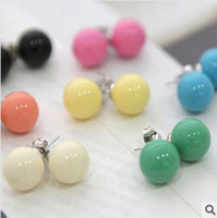 decoration jewelry colors - Christmas Gift Fashion Cheap Cute Girl Woman Candy Ball Stud Colors Earrings Jewelry Earing Decorations Ornament Accessories
