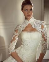 Wholesale Hot selling High Neck Long Sleeve Applique Lace Tulle Bridal Wraps amp Jackets Lace Bolero PJ009