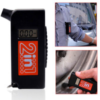 Wholesale 2 in Bike Car Motorcycle W Screwdriver Mini LCD Auto Portable Digital Tread Depth Tyre Tire Pressure Tester Gauge