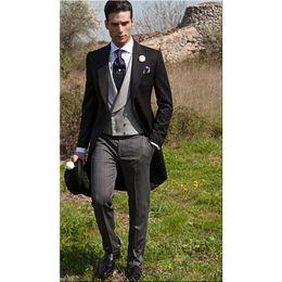 Hot Sale Morning Style Groom Tuxedos One Button Black Peak Lapel Best man Groomsman Men Wedding Suits Bridegroom (Jacket+Pants+Tie+Vest)J156