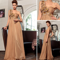 beautiful brown skin - New Arrive Beautiful Applique Beaded Skin Color One Shoulder Empire Waist A Linr Long Formal Evening Dresses Chiffon Party Prom Dress Gowns