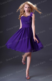 Wholesale Grace Karin One shoulder Knee Length Short Bridesmaid Gown Prom Ball Cocktail Party Evening Dresses Purple CL3431