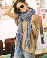 Wholesale Beily WB019 Fashion Lady Bib Scarves Pashmina Wraps Shawl Soft Warm Silk Blue Printing Shawl Wraps Scarf News