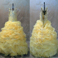 hair ball - 2013 Yellow Princess Ball Gown Halter Beaded Ruffled Little Girl s Pageant Dresses Buy get free Hair Bow