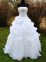bh photo - Big Crystal Sequins Bridal Gowns Strapless Floor Length Sweep Train Dress Organza Ball Gown Wedding Dresses BH