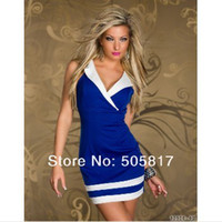 Wholesale 2013 New sheath Strips dresses Women Sexy short mini skirt ladies sexy casual dress Deep V blue white red