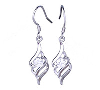 White Bohemian Women's SF215*1 Women's 1pair Earrings 925 Sterling Silver Crystal Dangle Hook Eardrop