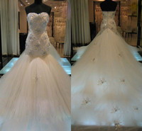 Wholesale 2013 Luxury Wedding Dresses Ivory Tulle Mermaid Sweetheart Appliques Beads Colorful Crystal Cathedral Train Bridal Gowns