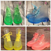 Wholesale 2013 PVC Transparent Womens Colorful Crystal Clear Flats Heels Water Shoes Female Rainboot Martin Rain Boots colors DHL free SB2