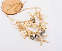Women's chunky jewelry - Fashion Chunky Chain Chokers Starfish Seashell Conch Pearl Series Pendants Necklace Jewelry for Women Lady Girl SF031