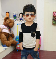 Wholesale Child Clothing Kids Wear Fashion Round Neck Shirts Boys Clothes Knitted Shirt Children T Shirts Boy Gray Casual Pullover Long Sleeve T Shirt