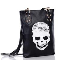 Women Animal Print PU Handbag Online 2013 New Fashion Designer Rivet Skull Black PU Shoulder Bag For Tide Girls Hot Sale Cool Snake Skin Cheap Price High Quality