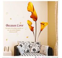 Wholesale 1PCS Golden Calla DIY WALL DECALS Stickers Home Deco X60cm