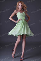 Wholesale Stock Cheap Bridesmaid Dresses Lime Green Pleated Chiffon Bridesmaid Gown Beach Wedding CL3473