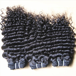 Wholesale Factory price virgin brazilian human Hair weft afro Deep Wave kinky Curly hair Extensions natural color quot quot inch