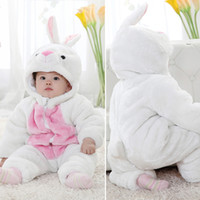 Wholesale 11179 girls cute rabbit rompers baby thicken long sleeve one piece bodysuits popular jumpsuits kids casual winter warm clothing ttgmy