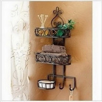 Wholesale Household goods receive sanitary toilet wall hanging shelf wrought iron bathroom bathroom shelf