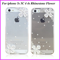 For Apple iPhone bling cell phone case - Handmade Crystal Rhinestone Bling Cell Phone Case Flower Diamond Transparent Protective Hard Back Case Cover For Apple iPhone s s c