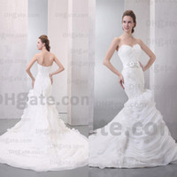 flower appliques lace - 2014 Hot Selling Sexy Strapless Lace Sheer Backless Mermaid Wedding Dresses with Appliques Handmade Flower Belt Buy Get Free Head Set