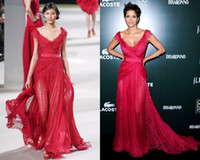 apple berry - 2015 New Arrival Elie Saab Fall Winter Red See Through Celebrity Dresses Halle Berry CDGA Dresses Formal Gown With Sexy Elegant Pageant Gown