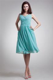 Beautiful 2014 New Spaghetti Straps Sleeveless Knee Length Green Chiffon Formal Party Short Prom Dresses Custom Size 2 4 6 8 10 12 14 16