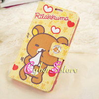 Wholesale Cute Cartoon Rilakkuma Bear Wallet Flip PU Leather Case Cover With Credit Card Holder For Samsung Galaxy Note N9000