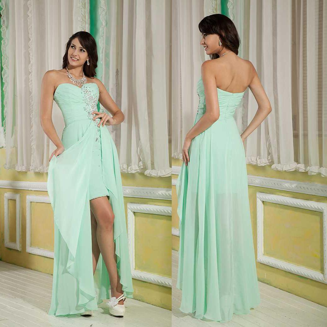 Newest Cheap Sexy High Low Chiffon Mint Front Short Long Back Prom ...