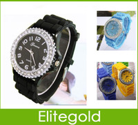 Wholesale Colorful Geneva Crystal Jelly Gel Silicon Teenagers Girls Women s Wrist Watches With