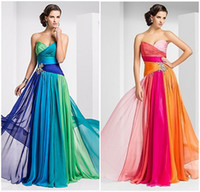 Wholesale High Quality Low Price Multicolor Chiffon Long Formal Evening Dresses With Crystle Beads Sweetheart Neckline Party Prom Dress Gowns Lace Up