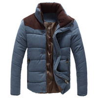 Jackets Men Polyester Men's Winter Warm Thermal Wadded Jacket Cotton Padded Coat Winter Slim MWM169