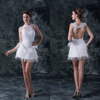 Model Pictures sexy mini wedding dress - 2014 Hot Sexy Short Mini Bridal Gowns Jewel Neckline Backless Sleeveless Furs Lace A Line Wedding Dresses DH003760 get one free crown