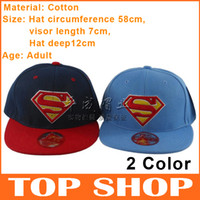 Wholesale Snapbacks Baseball Hat Super man New Cotton Hip Cap Baseball Hat cm cm cm Flat Brimmed Hats Color SS0004