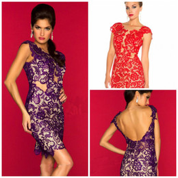 Wholesale 2014 Nude Sexy Prom Dresses Lace Backless Short Mini Party Cocktail Evening Gowns See through Neckline Cap Sleeves Purple Red Outside Hot