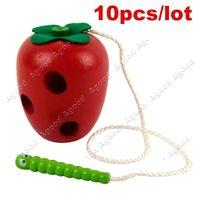 Wholesale 10pcs Children Kids Colorful Wooden Worm eat Fruit Toy Developmental Baby Toys