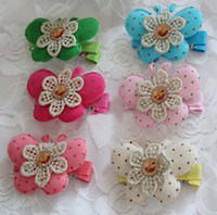 Ribbed band butterfly hair clip - Girls Hair Clips Fashion Princess Bows Headwear Children Accessories Polka Dot Butterfly Modelling Barrettes Side Clip Baby Hair Accessories