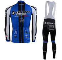 Wholesale 2013 GIANT cycling long sleeve thermal jersey and bib pants wordwide