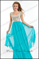 Wholesale 2014 Cheap Modest Prom Dresses Sparkly Crystals Beaded Hunter Chiffon A Line Floor Length Short Sleeves Scoop Homecoming Dance Dresses Cheap