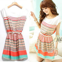 Wholesale 695 women new fashion colorful stripe pu leather bow belt sleeveless cute dress summer chiffon dresses belt drop ship