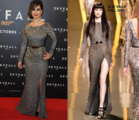 Reference Images zuhair murad - 2015 Elie Saab Berenice Marlohe Red carpet Long Sleeve Evening Dresses Sheath Crew Sexy Split Prom Pageant Gown Zuhair Murad Celebrity Dress