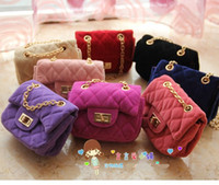 Wholesale NEW baby kids girls s Shoulders Bag handbag Messenger girl girls children fleece chain woman plaid bags MINI