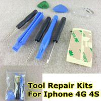 Wholesale Tool Repair Kit Screwdriver Opening Pry Set Kits In For iPhone S s Crowbar Blue Shell for Apple iphone4s G iPod Touch Cell Phones