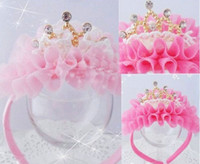 Wholesale New Kids Girl Princess Baby Pink Velvet Crown Pearl Stone Ribbon HeadBand Hair Accessories