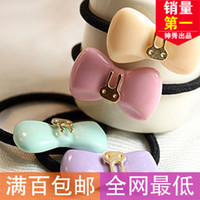 Wholesale 1595 Popular American genuine metal accessories hair accessories Korean beautiful bow rabbit hair ring hair rope