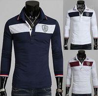 Cotton men's polo shirts - 2013 new monde South Korea Dimensional embroidery Men s t shirts mens polo shirts slim men s t shirts navy cxz