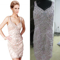 Wholesale 2013 Hot Selling V Neck Beaded Crystals Pearl Satin Sheath Mini Short Pink Cocktail Dresses Prom Gowns C1284 get a bracelet for free