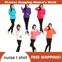 Wholesale New Fashion High quality elasticity Maternity Nursing Long Sleeve O Neck T shirt cotton fadeless pregnant woman tops colors